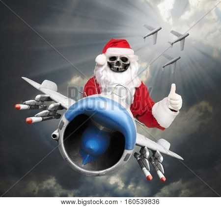 Air Force christmas greeting. Awesome Santa Claus piloting jet fighter with missiles as a gifts for all enemies. Grim reaper on the sky.