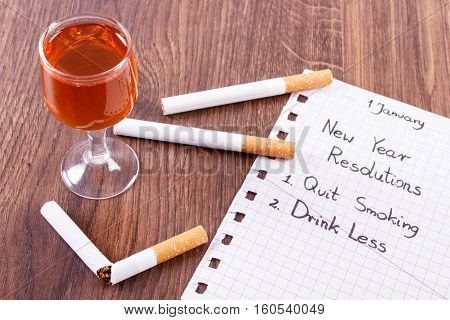New Years Resolutions, Quit Smoking, Drink Less Alcohol