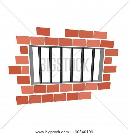 Jail Cartoon. Prison Grill And Wall. Window In Prison With Bars