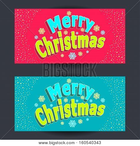 Set Merry Christmas horizontal banners with confetti in cartoon  style  on red  and on blue background  for congratulation or invitation or package winter holiday or  for Creative Post Card