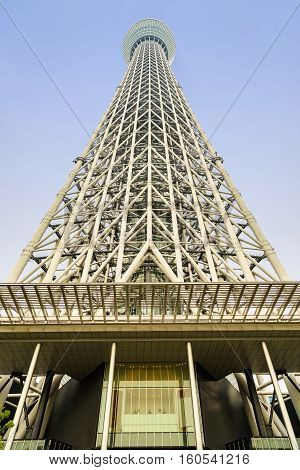 TOKYO JAPAN - 08 OCTOBER 2016 - Tokyo Skytree in blue sky a broadcasting and observation tower in Sumida Tokyo Japan.