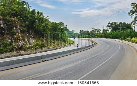 Beautiful romantic mountain route in Thailand Curve of roadtropical road in jungle