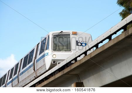 Fruitvale CA - December 06 2016: The San Francisco Bay Area Rapid Transit train referred to as BART carries commuters to their destinations in San Francisco the East Bay and San Mateo County.