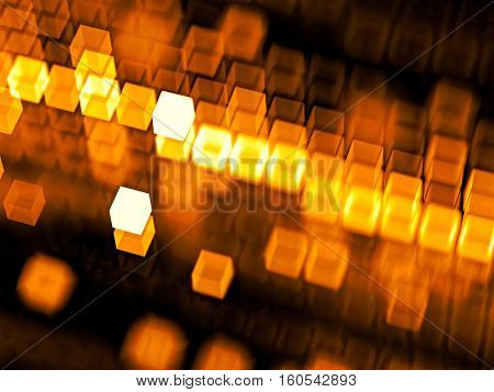 Abstract tech background - computer-generated image. Fractal geometry: blurred orange cubes, randomly placed and in rows. Technology or business background.