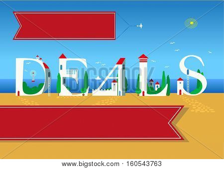 Deals. Travel card for retail. White buildings on the summer beach. Red banner for custom text. Plane in the sky with red banner for custom text.