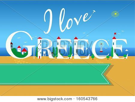 I love Greece. Travel card. White buildings on the summer beach. Green banner for custom text. Plane in the sky.
