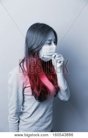 Woman coughing with mask feel no good , asian