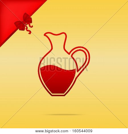 Amphora Sign. Cristmas Design Red Icon On Gold Background.