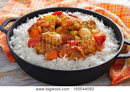 Rice And Sweet And Sour Fried Pork Chunks