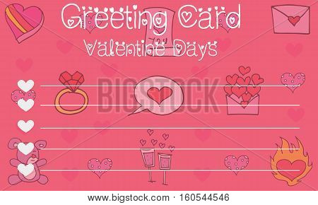 Vector art of greeting card valentine collection stock