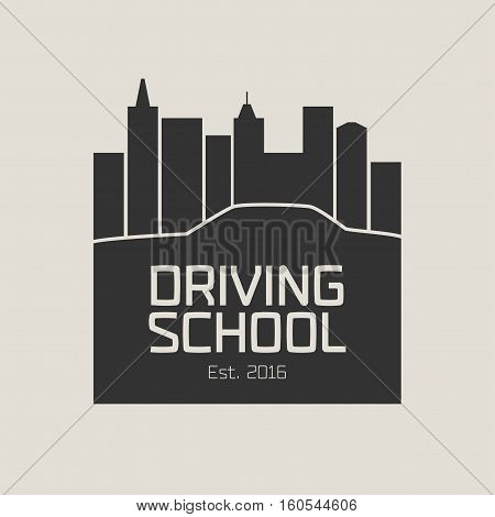 Driving license school vector logo sign emblem. Car driving along the streets graphic design element. Driving lessons concept illustration