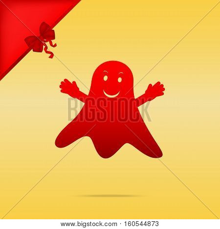 Ghost Isolated Sign. Cristmas Design Red Icon On Gold Background