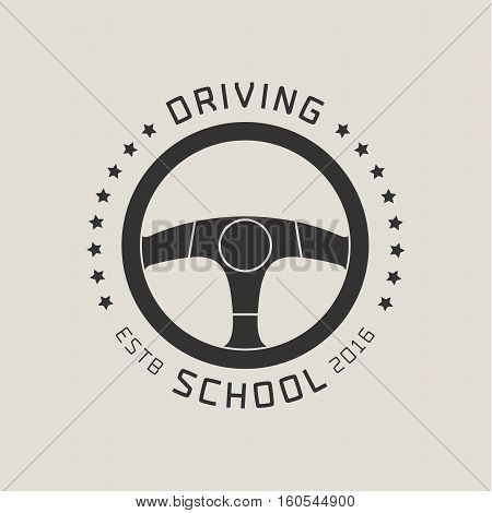 Driving license school vector logo sign emblem. Steering wheel graphic design element. Driving lessons concept illustration