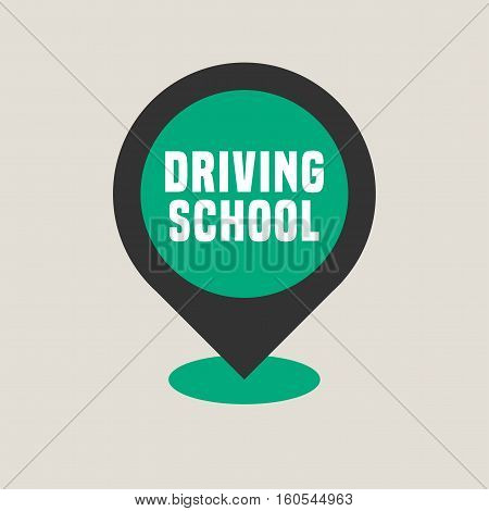 Driving school vector logo sign symbol emblem. Pointer on the map design element concept illustration for driving lessons obtain company