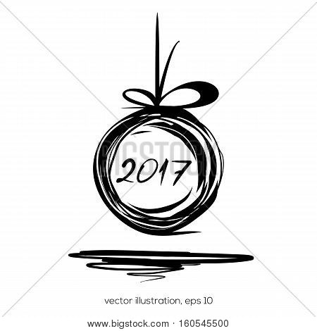 New Year 2017. Christmas doodle design. Sloppily painted Christmas ball on a white background. Vector illustration