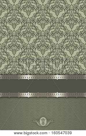 Vintage green background with decorative border and old-fashioned floral patterns. Book cover or vintage invitation card design.