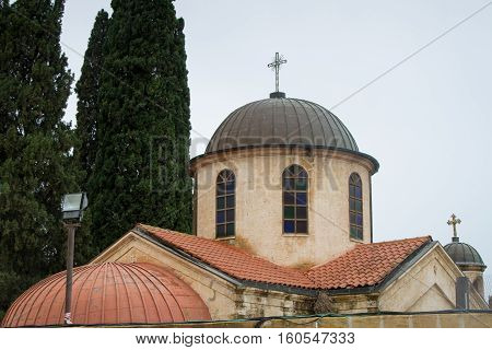 View of the dome of the Cana Greek Orthodox Wedding Church in Cana of Galilee Kfar Kana in winter cloudy day Israel.