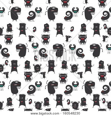 Cartoon moster silhouette seamless pattern on white. Vector illustration
