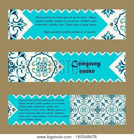 Vector set of colorful horisontal banners for business and invitation. Portuguese Azulejo Moroccan; Arabic; asian ornaments. Geometric and floral motifs