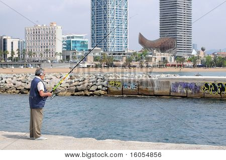 Man fishing, Barcelona