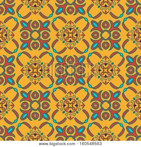 Vector seamless texture. Beautiful colored pattern for design and fashion with decorative elements. Portuguese tiles Spanish Moroccan ornaments