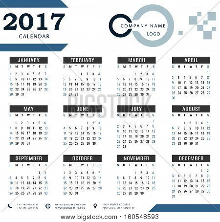 2017 calendar, planner, organizer and schedule template for companies and private use