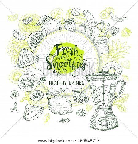 Fresh smoothie healthy drinks logo. Vector sketch style. Lettering design Calligraphy logotype Fruits, strawberry, banana, watermelon, lemon, orange apple, pineapple, blender