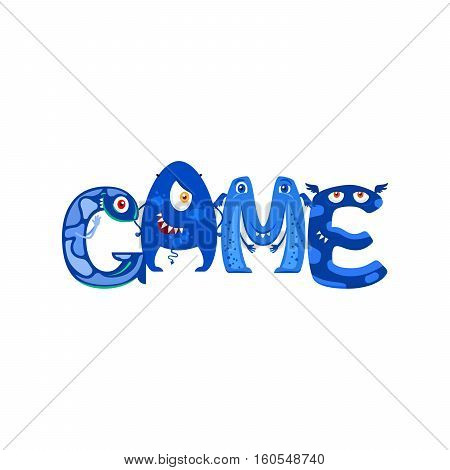Blue Monsters letters in word Game isolated on white. Vector illustration