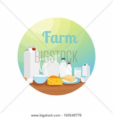 Farm with milk food circle icon or sticker design. Vector illustration