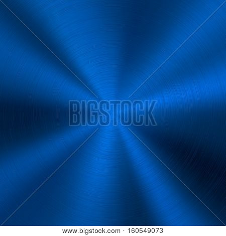 Blue metal technology background with abstract polished, brushed circular metal texture, chrome, silver, steel, for design concepts, web, posters, wallpapers and prints. Vector illustration.