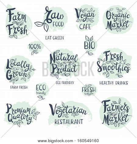 Set of stickers. Vegan cafe, farm fresh, fresh smoothies, vegetarian restaurant, organic market, natural product, raw food. Labels, Lettering design, calligraphy logo. Hand drawn vector illustration.
