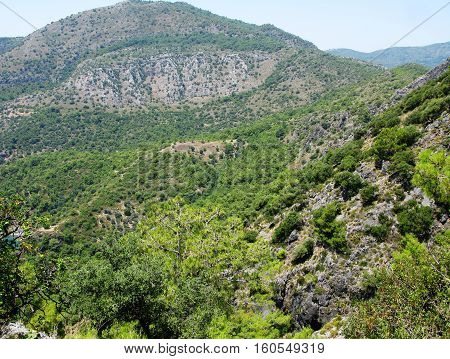 hiking road path in high mountains Turkey