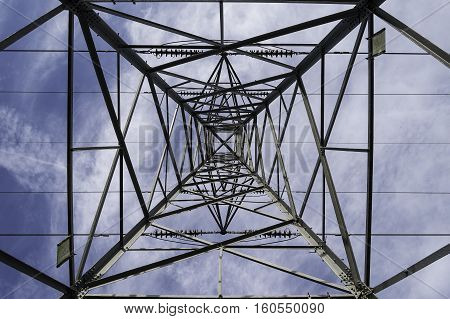 A view from the middle beneath an electricity pylon looking directly upwards
