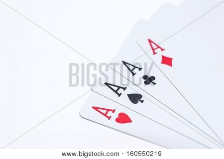 four poker ace isolated on white background