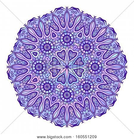 Round mandala in different shades of blue, Isolated design element, Vector illustration