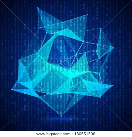 Wireframe mesh polygonal background. Abstract form with connected lines and dots. Vector illustration.