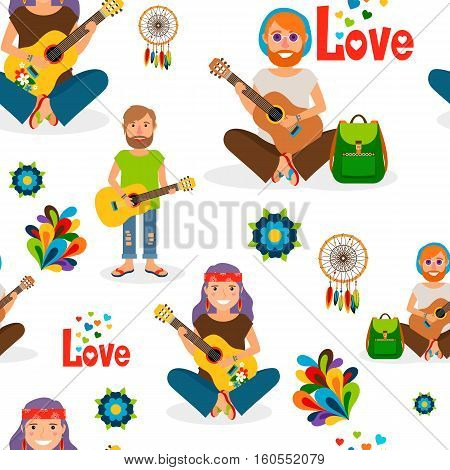 Hippie people with guitar seamless pattern. Vector illustration