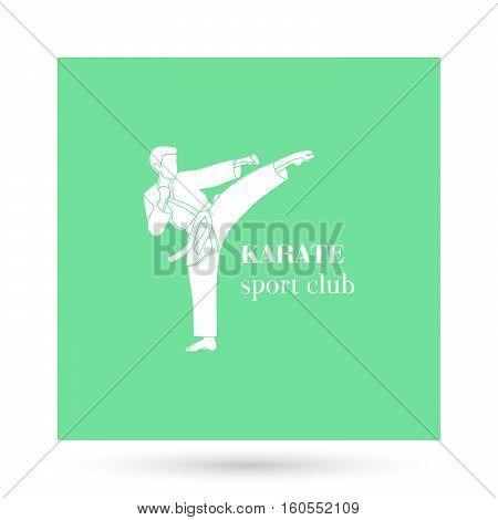 Karate sport club logo design presentation on white. Vector illustration