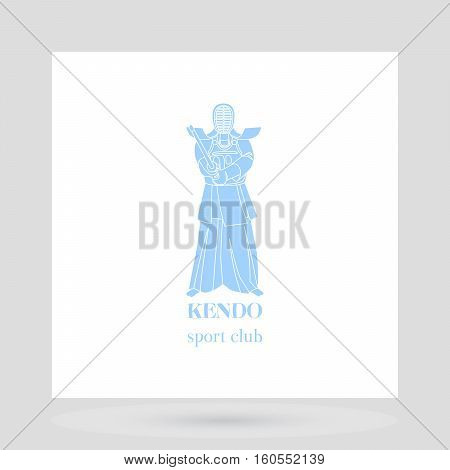 Kendo fight club logo design presentation with light blue man silhouette. Vector illustration