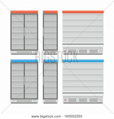 Cooled Rack Refrigerator with transparent door and shelves in white colors isolated vector illustration