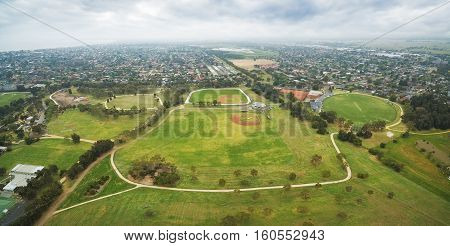Panoramic Aerial View Of Park And Suburb. Chelsea, Victoria, Australia