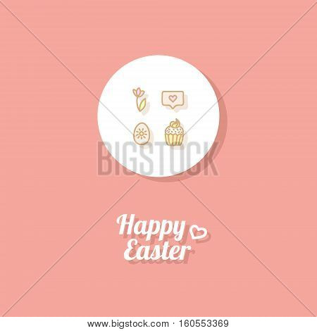 Happy Easter. Greeting card or banner template with hand drawn egg icon, tulip, Easter cake and greeting message. Bright red background