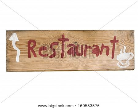 Sign Showing The Direction to a Restaurant Isolated on White Background.