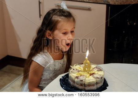 the little girl blowing out a candle
