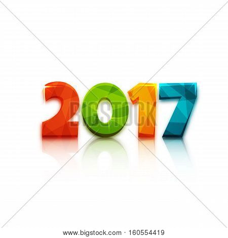 Happy new year 2017. Text design of 2017 letter with bright colors. Vector New Year illustration. 2017 letter on white background with mirror