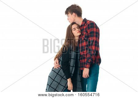 close up of young beuty stylish couple in love having fun in studio isolated on white background