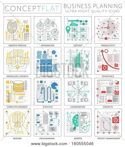 Infographics mini concept Project business finance planning icons for web. Premium quality design web graphics icons elements. Project business finance planning concepts