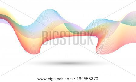 Abstract colorful creative wave line background. 16:9 ratio format. Vector illustration background design.