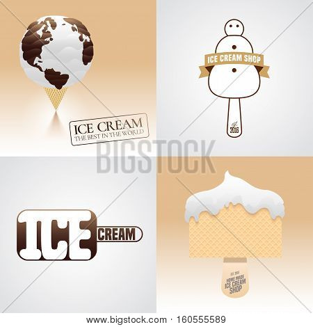 Set of ice cream vector logo, sign, symbol, emblem, illustration. Template graphic design element with snowman, ice cream as a planet, waffle
