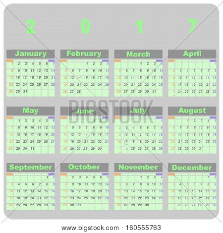 Design demo 2017 calendar template stock vector